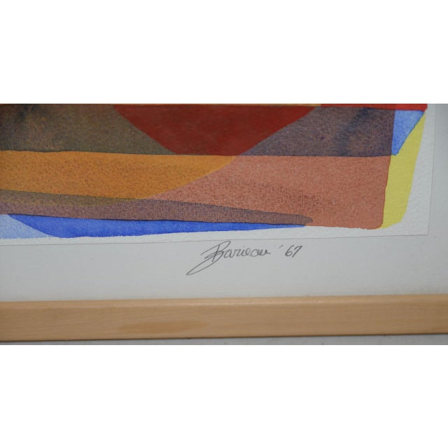 """Abstract Katherine Barieau (1917-2010) """"Child's Room"""" Abstract Watercolor C.1967 For Sale - Image 3 of 10"""
