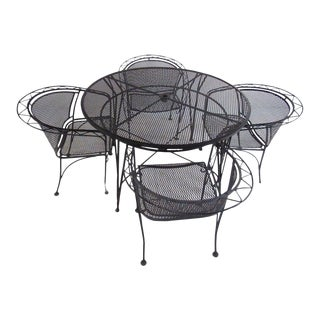 Vintage Salterini MCM Style Wrought Iron Dining Set 5 Piece Garden Table & Chairs For Sale
