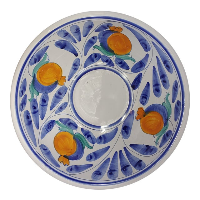 Italian Pasta Serving Bowl Ceramiche Desuir Stefano DI Camastra Hand Painted Majolica Sicilian Oranges For Sale