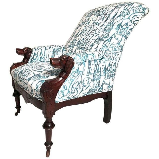 Late 19th Century Victorian Lounge Chair With Carved Dog Head Armrests For Sale - Image 13 of 13