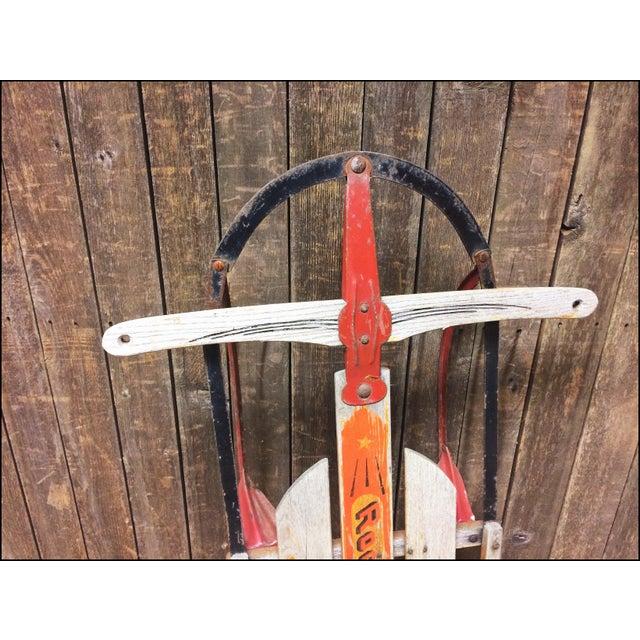 Vintage Weathered Wood & Metal Runner Sled -- Rocket Plane For Sale - Image 6 of 11