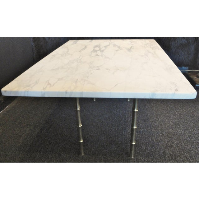"Italian ""honed"" Marble Top Coffee Table with Faux Bamboo Legs of Brass. So Very Chic and Elegant!!! This 1950's Italian..."