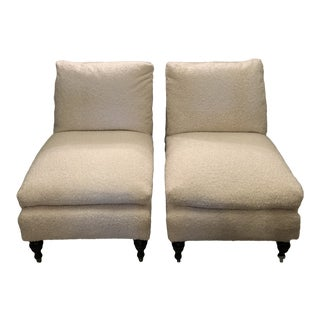 Pair of Vintage Slipper Chairs With Faux Shearling For Sale
