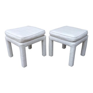 Mid-Century Modern Milo Baughman Style Upholstered Parsons Ottomans - A Pair