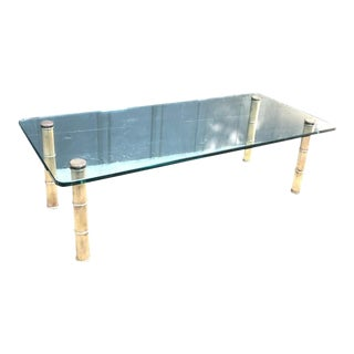 Leon Rosen for Pace Brass Bamboo Glass-Top Coffee Table For Sale