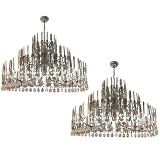 2 Chandeliers Ovali by Sciolari, Italy, 1970s For Sale