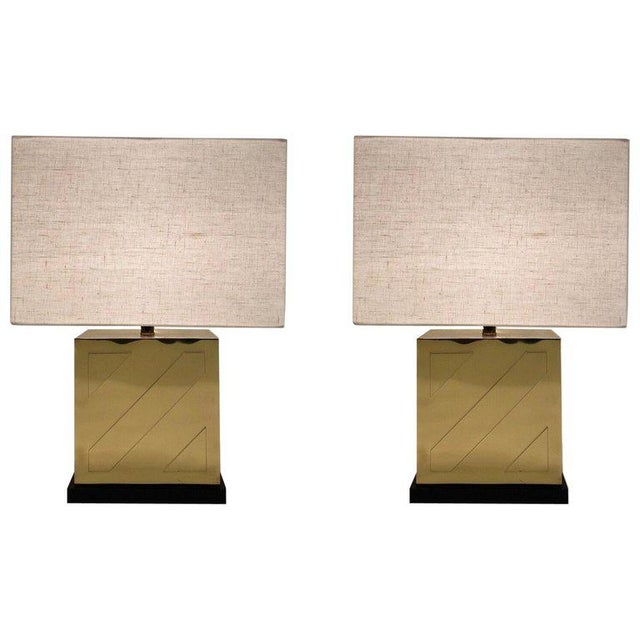 Chapman Polish Brass and Black Lacquer Table Lamps - a Pair For Sale - Image 11 of 11