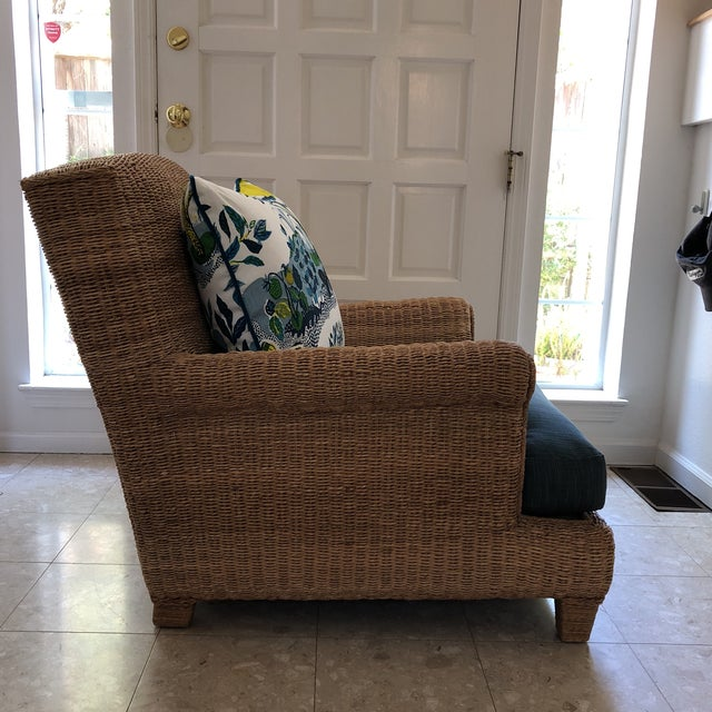 Contemporary Ralph Lauren Herring Net Wicker Armchair With Upholstered Seat and Loose Back Pillow For Sale - Image 3 of 8