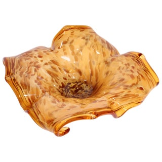 Murano Amber and Gold Venetian Handblown Art Glass Bowl For Sale