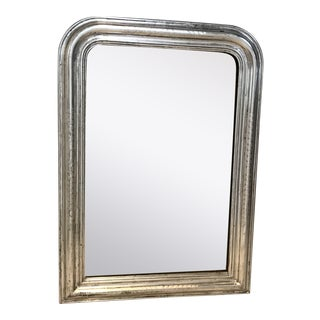 Antique Silver Giltwood Louis Philippe French Mirror For Sale