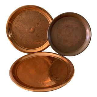 Vintage Boho Copper Trays-Set of Three For Sale