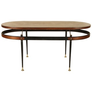Italian Sculptural Iron and Wood Coffee Table For Sale