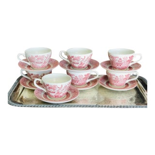 English Transfer-Ware Pink Cups & Saucers, Set/7 For Sale