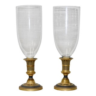 Pair of Fine Italian Mottahedeh Large Hurricane Glass Candle Holders C.1950s For Sale