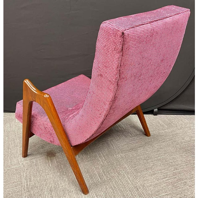 Raspberry Pink Pair of Newly Upholstered Mid-Century Modern Armchairs For Sale - Image 8 of 13