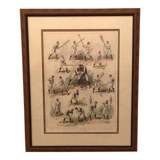Custom Framed Antique La Crosse Print For Sale
