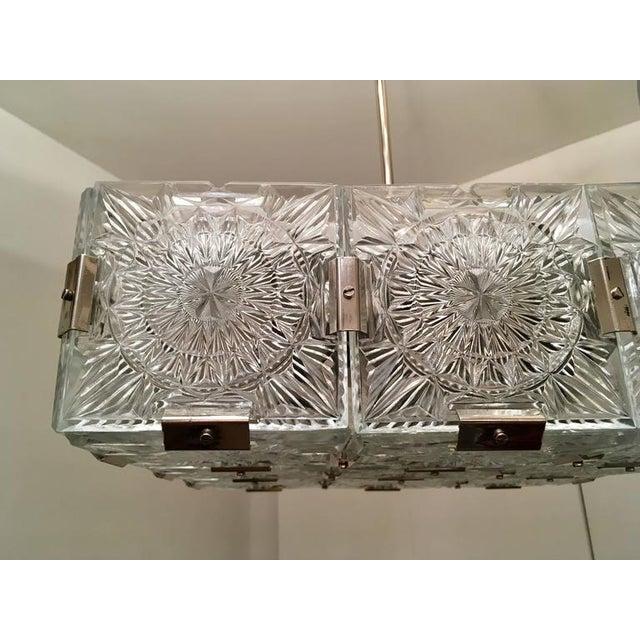 Chrome 1960s Czech Bohemian Crystal Flush Pendant For Sale - Image 7 of 10