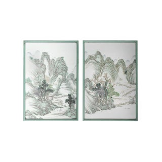 Late 19th Century Chinese QianjiangCai Enamel Painted Landscape Plaques - A Pair For Sale
