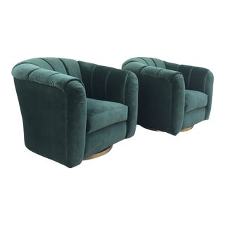 Mid-Century Modern Barrel Chairs in the Style of Milo Baughman For Sale