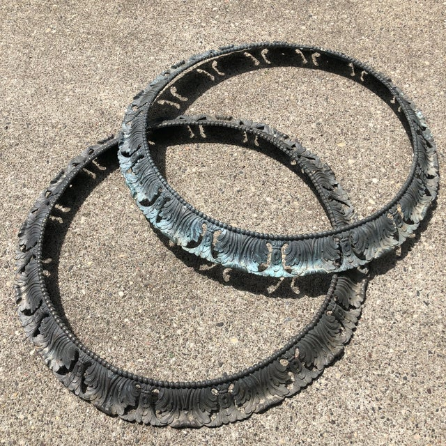 """Antique Pair of Beaux Arts 20"""" Round Bronze Surrounds - a Pair For Sale - Image 12 of 13"""