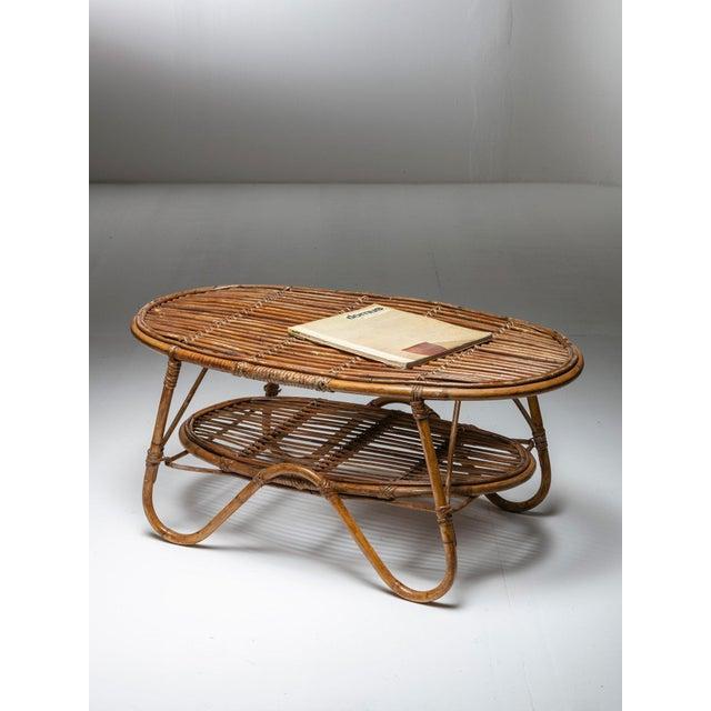 Italian 60s Wicker Side Table For Sale - Image 4 of 5