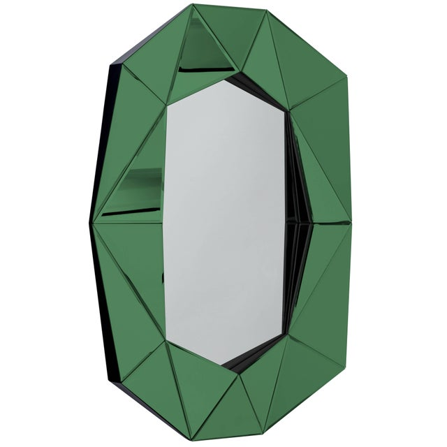 Modern Emerald Diamond Decorative Mirror For Sale - Image 3 of 3