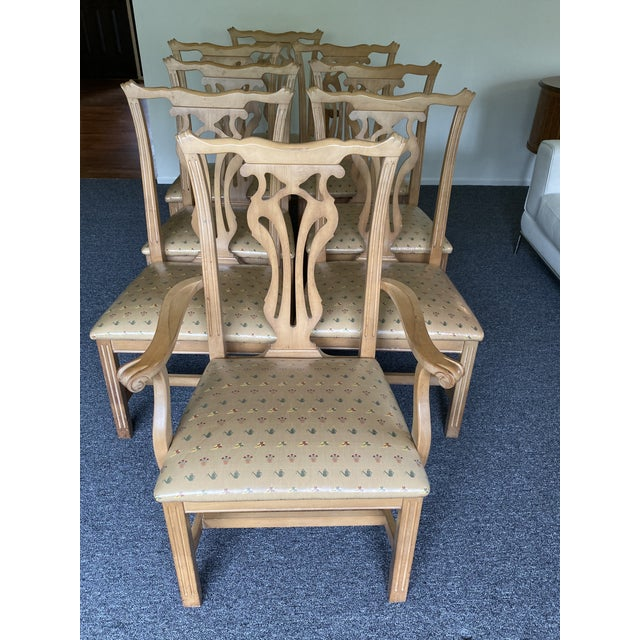 1980s Vintage Traditional Oak Dining Chairs- Set of 8 For Sale - Image 4 of 12
