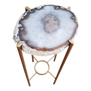Organic Modern White and Brown Geode Drink Table With Gold Gilt Base For Sale