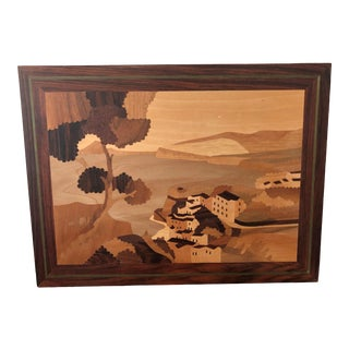 Vintage Marguetry Wood Inlay Artwork of Seaside Villa Italy For Sale