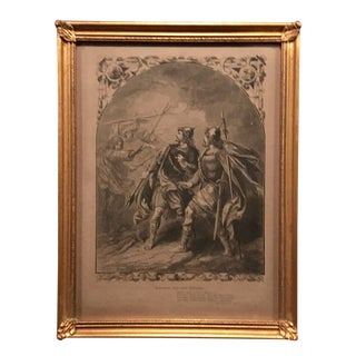 Mid-1800s English Engraving by Charles W. Sheers Sc., Shakespeare's MacBeth and the Witches, Framed For Sale