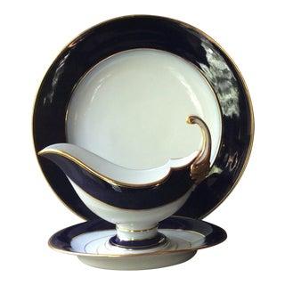 Antique European Porcelain Meat Platter and Sauce Boat - A Pair For Sale