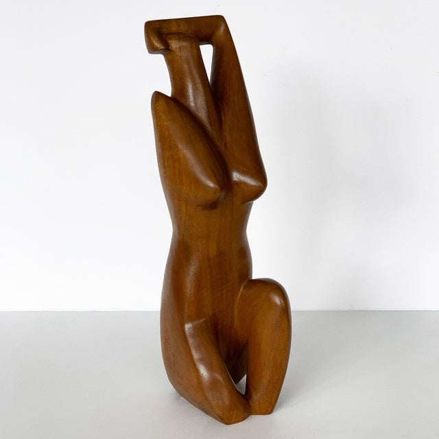 Wood G. Lynch Carved Solid Wood Nude Abstract Sculpture For Sale - Image 7 of 13