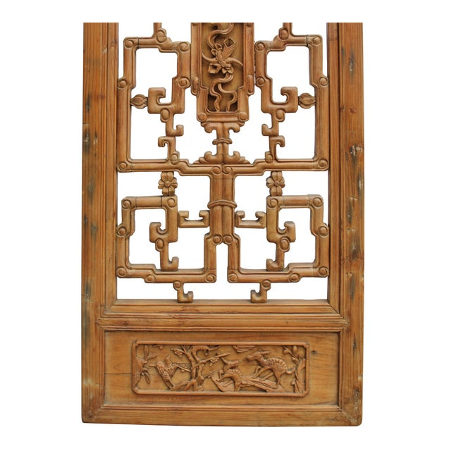 Brown Chinese Vintage Light Brown Relief Motif Wood Wall Hanging Art For Sale - Image 8 of 9