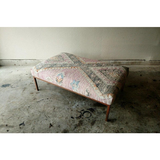 New Showroom Display Model Kilim Rug Ottoman. One inch tube metal frame with copper finish with a high density foam...