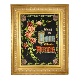 Victorian Era Motto Chromolithograph Framed Print What Is Home Without a Mother For Sale