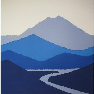 Vintage Mt Tamalpais Horizon Blue Serigraph Print