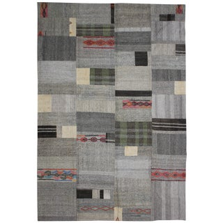"Aara Rugs Inc. Hand Knotted Patchwork Kilim - 11'4"" X 8'8"" For Sale"