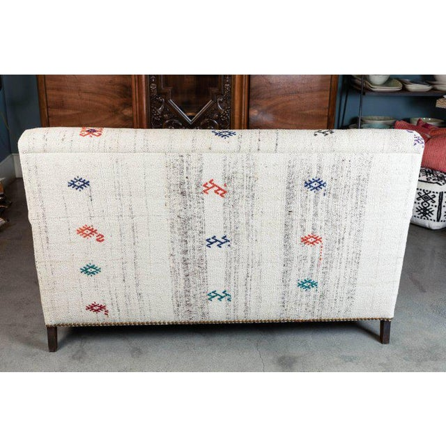 Islamic Custom-Made Settee, Upholstered in a Vintage Flat-Weave Kilim Rug For Sale - Image 3 of 7