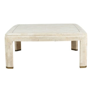 20th Century Maitland-Smith Mosaic Square Ivory Coffee Table For Sale