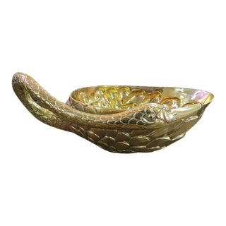 1980 Antique Style Brass Swan Planter/Bowl For Sale