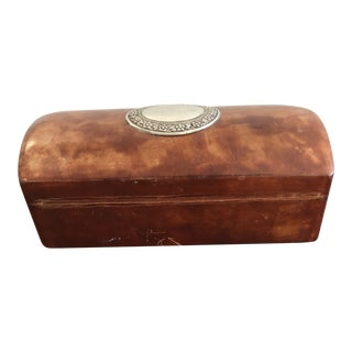 Vintage Mid-Century Domed Leather Silver Cartouche Box For Sale