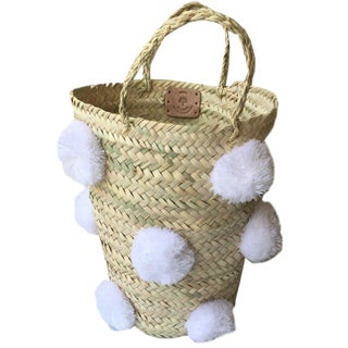 Moroccan White Pompom Basket For Sale