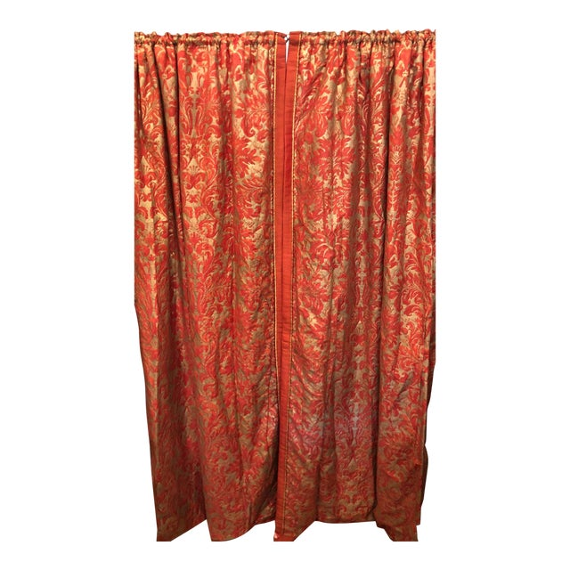 Pair of Genuine Fortuny Gold & Orange-Red Curtains Drapes W Silk Verso For Sale