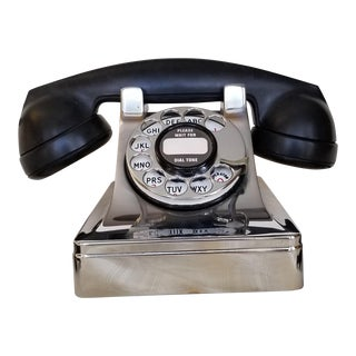 Vintage 40s Chrome & Bakelite Dreyfuss Rotary Telephone For Sale