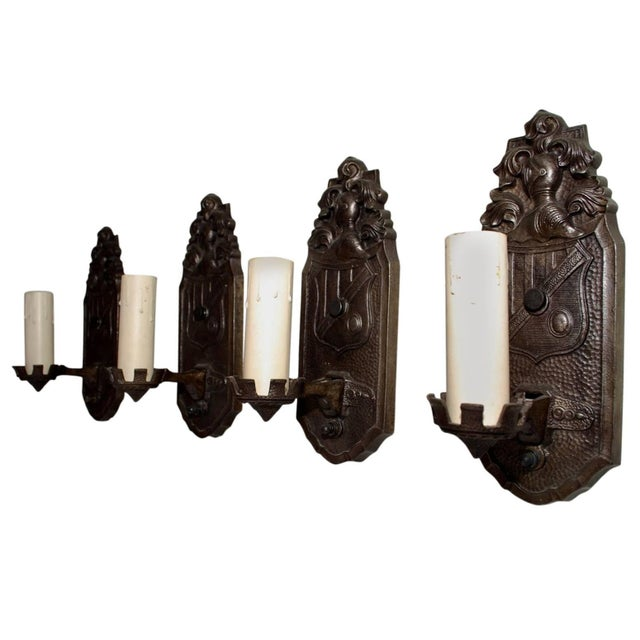 1920s Cast Iron Sconces - Set of 4 For Sale - Image 4 of 5