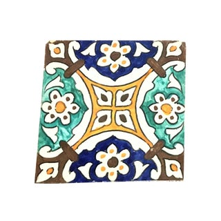 Hand Painted Large Moroccan Decorative Tile For Sale