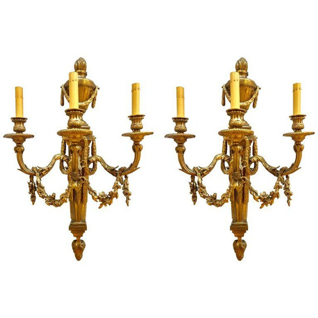 Pair of French Louis XVI Style Dore Bronze Sconces With Foundry Name For Sale - Image 13 of 13