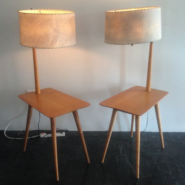 Mid-Century Maple Side Table Floor Lamps - A Pair - Image 2 of 11