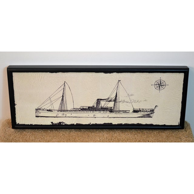 2010s Canvas Wood Steam Ship Wall Art Showroom Sample For Sale - Image 5 of 5