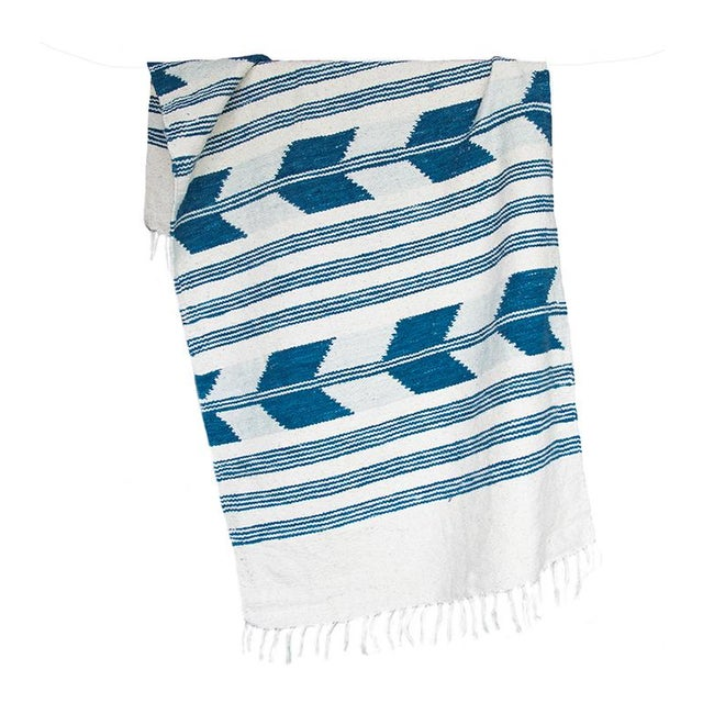 Blue & White Handwoven Chevron Rug - 2′6″ × 5′ - Image 2 of 5